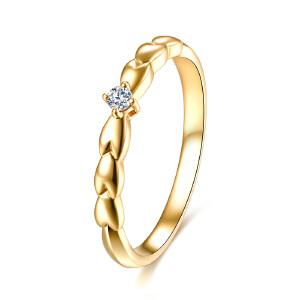 佐卡伊18k金钻戒钻石女戒求婚结婚戒指时尚新款珠宝首饰麦穗系列