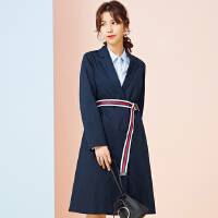 【全场2件2.5折,到手价:89.8】美特斯邦威外套女新款休闲百搭中长款韩版时尚风衣