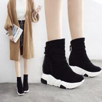 马丁靴女黑色小短靴平底坡跟学生春秋2018新款内增高女鞋瘦瘦靴