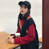 衬衣女春季新款韩版复古纯色灯芯绒长袖上衣衬衫+针织无袖V领马甲