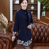 中老年女装秋季风衣40-50岁中长款新款妈妈装秋装针织衫开衫外套