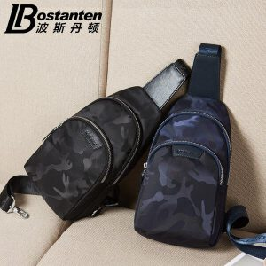 (可礼品卡支付)波斯丹顿胸包男士休闲帆布背包腰包韩版单肩斜挎包男包新款潮B5171031