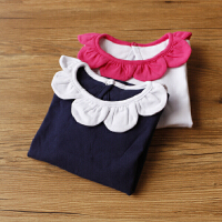 可爱花瓣 婴儿女童装春秋长袖打底t恤 婴儿宝宝花边纯棉打底上衣