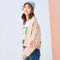【满1000减750】美特斯邦威夹克女士秋新款袖口系带韩版学生外套