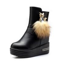 2018水钻内增高短靴女冬天高跟厚底棉鞋韩版潮加绒加厚短筒雪地靴真皮