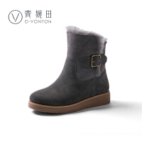 青婉田加厚保暖雪地靴女皮毛一体短筒冬新款学生时尚短靴平底靴子