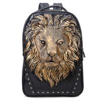 男士双肩包 女创意书包 铆钉狮子pu皮 个性大背包