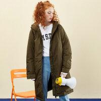 【2件2.5折到手价:174.8】美特斯邦威羽绒服女中长款过膝bf风冬装潮流面包服个性时尚外套