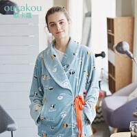 欧卡蔻秋冬女士睡衣家居服蓝色法兰绒套装厚款珊瑚绒睡衣可外穿