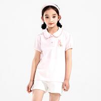 【当当价2件1.5折到手价:48元】binpaw儿童短袖T恤 全棉女童纯色短袖上衣2018新款童装夏装polo衫