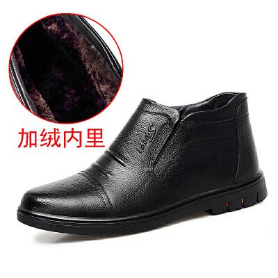 冬季新款真皮棉鞋男鞋加绒加厚保暖棉皮鞋男软底防滑休闲爸爸鞋子
