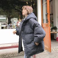 冬季新款韩版宽松bf加厚保暖学生原宿面包服ins情侣棉衣外套 黑色