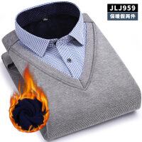 秋冬保暖假两件衬衫男士长袖加绒加厚寸衫商务休闲毛衣男套头衬衣 JJ959 XX