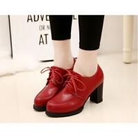 系鞋带皮鞋女单鞋春秋女鞋粗跟红色黑色圆头7-8cm系鞋带潮中跟ljj
