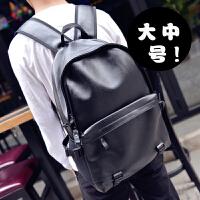 旅行电脑双肩背包时尚潮流男包韩版高中大学生书包女PU皮休闲
