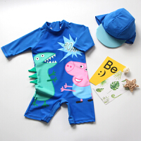 儿童泳衣男童潮小童连体韩国可爱度假防晒分体小宝宝婴儿泳裤套装 深蓝色 深蓝猪