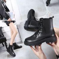 红箐蜓马丁靴女英伦风秋冬季女鞋2021新款韩版平底黑色网红短靴
