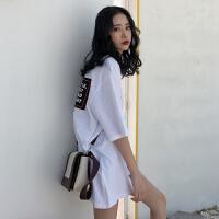 后背字母短袖T恤女春夏2018新款韩版原宿bf风宽松中长款打底衫潮