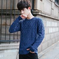 复古麻花毛衣粗毛线针织衫男圆领韩版套头宽松男友毛衣