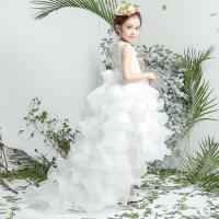 儿童礼服蓬蓬裙演出服花童礼服女童婚纱公主裙钢琴裙长拖尾晚礼服 白色
