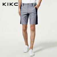 kikc男装休闲五分裤2018夏季新款青少年时尚纯棉拼接宽松短裤男士