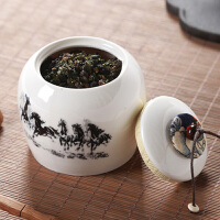 白领公社 茶叶罐 创意陶瓷简约办公家用大号大容量陶瓷储存罐普洱散装茶防潮缸密封瓶荷花浮雕茶具