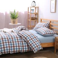 水洗棉四件套条纹被套床单床上三件套1.2m床1.5米1.8夏季