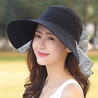 帽子女夏天太阳帽韩版遮阳帽防晒大沿沙滩帽防紫外线折叠出游户外
