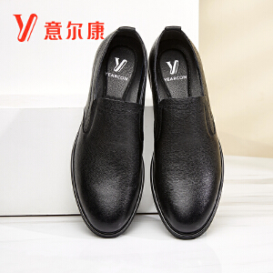 意尔康男鞋套脚男士皮鞋男商务休闲鞋英伦风乐福鞋