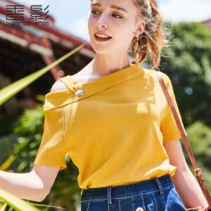 斜肩上衣女 香影2018夏装新款小心机时尚露肩纯色针织衫修身短袖