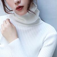 高领毛衣女秋冬韩版学生套头长袖短款打底加绒加厚白色针织衫yly 加绒