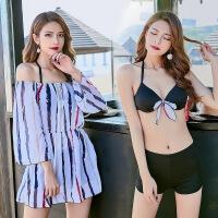厂家直销泳衣女分体比基尼三件套裙式小胸聚拢性感韩国小香风泳装