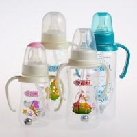 婴儿宝宝120/180/300ml奶瓶圆弧形带手柄带吸管奶嘴奶瓶
