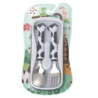 W 儿童餐具套装宝宝学习吃饭训练餐具304不锈钢婴儿童勺子叉子套装D7