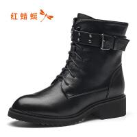 【红蜻蜓1件2折,领�宦�100再减20】红蜻蜓棉鞋冬季棉鞋加绒粗跟女棉靴保暖短筒女靴高跟女鞋
