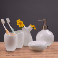 骨瓷刷牙具欧式洗漱套件浴室用品纯漱口杯卫浴套装五件套