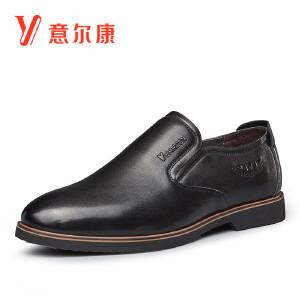 意尔康男鞋商务休闲鞋套脚皮鞋生活休闲皮鞋男鞋