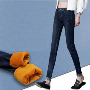 显瘦新款加绒牛仔裤女铅笔长裤大码女裤加厚保暖裤