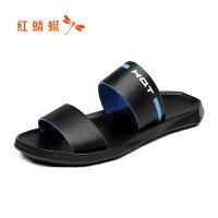 【限时1件2折 领�辉偌�10元】红蜻蜓拖鞋 夏季新款凉鞋韩版沙滩鞋真皮潮流个性凉拖鞋