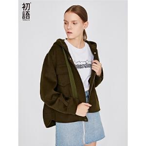 初语 双面尼呢大衣女宽松短款秋冬新款绵羊毛毛呢外套呢子潮