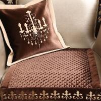 欧式真皮沙发垫美式坐垫毛绒组合123布艺通用防滑四季套