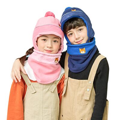 kocotree新款宝宝帽子围巾两件套男女童护耳2018新款保暖儿童帽子围脖套装秋冬保暖套装 安全警示条