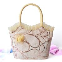 女包单肩手拎手提包蕾丝绣花亮片布包中年妈妈时尚手工布艺包包