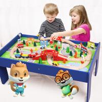 木质小火车套装轨道桌礼物遥控电动和谐号拼装玩具男孩4-5-6周岁