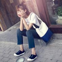 日式和风韩版潮原宿森系新款简约文艺小清新女单肩斜跨手提帆布包