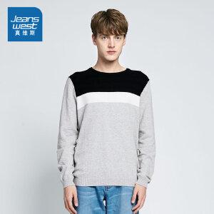 真维斯针织衫男 2018春装 男装学生圆领长袖毛衣韩版潮流上衣