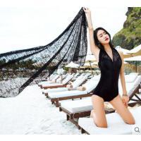 气质沙滩温泉泳装连体泳衣女性感蕾丝罩衫遮肚显瘦露背钢托大小胸聚拢
