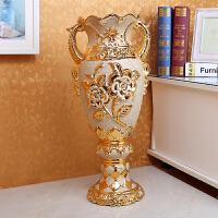 陶瓷花瓶落地高脚宽口金色奖杯状客厅电视柜旁花器大号摆件