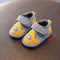 男宝宝冬款加厚雪地靴男小童婴儿软底亮灯棉靴0-1-2岁