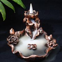 创意家居香炉倒流烟香炉纯铜陶瓷瑜伽香薰炉茶道檀香佛堂摆件 树脂仿红铜